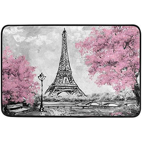 (Starocle France Paris Eiffel Tower Oil Painting Doormat Indoor Outdoor Entrance Floor Mat Bathroom 23.6 x 15.7 inch)