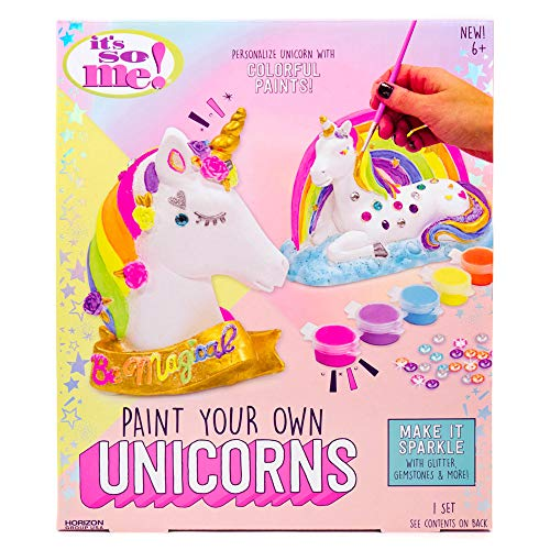 It's So Me! Paint Your Own Unicorns by Horizon Group USA, Paint & Decorate 2 Plaster Unicorns, Includes 6 Acrylic Paints, 5 Metallic Paints, Gemstones, Glitter, Sticker Sheet, Paint Brush -