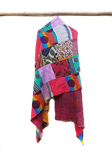 Cotton Kantha Neck Wrap Women Reversible Neckerchief Bandanas Bohemian Scarf patchwork