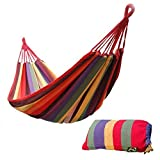 Marketworldcup - Portable Cotton Rope Outdoor Swing Fabric Camping Hanging Hammock Canvas Bed red