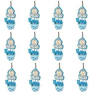 12 Piezas, Pinza madera bautizo de niño, Ideal para Comunión,Bautizo,Boda,Recuerdos,Cumpleaños,Fiesta,Viaje,Invitadas-Baby