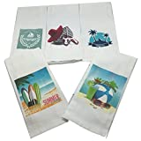 Bathroom Theme Sets Beach Theme Bathroom Towel Set-Set of 5 Nautical Hand Towels-Beach Themed Hand Towels