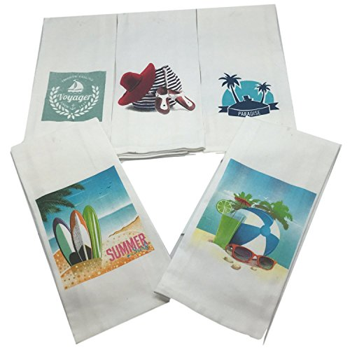 Beach Theme Bathroom Towel Set-Set of 5 Nautical Hand Towels-Beach Themed Hand Towels