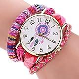 Ikevan The Sleek Stylish And Chic Knit Bracelet Watch Ladies Decorative (Hot Pink)