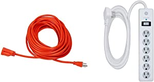 AmazonBasics 16/3 Vinyl Outdoor Extension Cord | Orange, 50-Foot & GE 6 Outlet Surge Protector, 10 Ft Extension Cord, Power Strip, 800 Joules, Flat Plug, Twist-to-Close Safety Covers, White, 14092