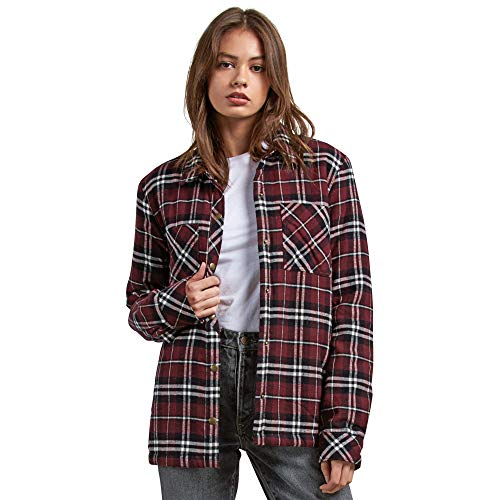 Flannel Long Kids Sleeve (Volcom Junior's Plaid About You Relaxed Fit Long Sleeve Sherpa Lined Flannel, Burgundy Medium)