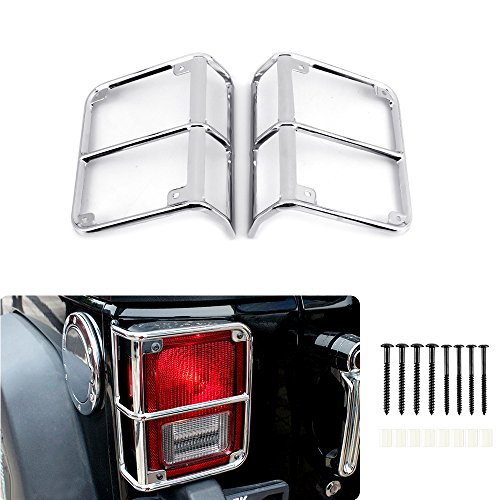 JeCar Euro taillight Cover guards Protector for 2007-2017 Jeep Wrangler JK & Wrangler Unlimited (Rugged)