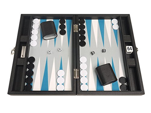 13-inch Premium Backgammon Set - Travel Size - Black Board, White and Astral Blue - Backgammon Cube Doubling
