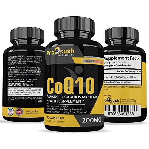CoQ10 Vitamin Supplement- Maximum Strength 100% Coenzyme Q10 with Ubiquinone for More Energy & Endurance. Strengthens Heart & Supports Fast Muscle Recovery Post Workouts for Men & Women.