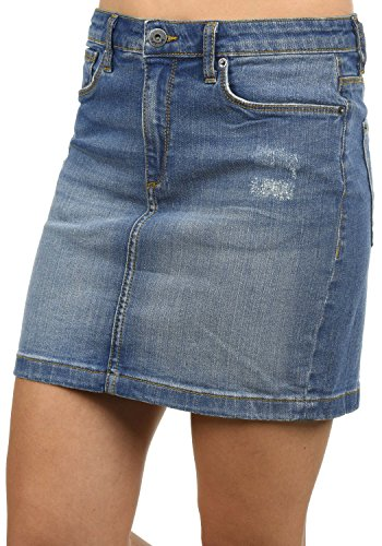 BlendShe Adria Minijupe Jupe Court pour Femme Extensible Medium Blue Washed (29052)