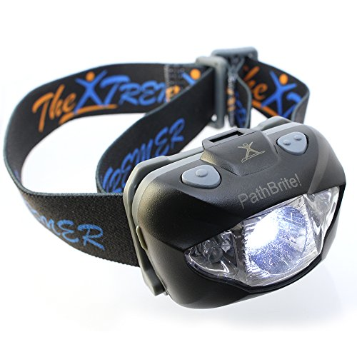 PathBrite Headlamp Flashlight Best for Outdoor/Indoor Activities Hand-Free Sensor Turning On/Off 3 Modes White CREE Light, LED Red, Flashing Red & Emergency, Super Bright, All Size Fit, Black