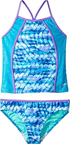 Speedo Rhythmic Tie Dye Tankini Two Piece Swimsuit, Blue, Size - Piece Two Swimsuits Competition