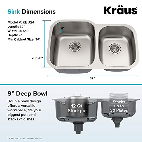 Kraus KBU24 32 inch Undermount 60/40 Double Bowl 16 gauge Stainless Steel Kitchen Sink by Kraus (Image #5)