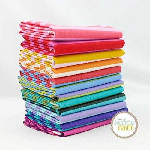Stripe Quilt Fabric - Free Spirit Stripes Fat Quarter Bundle (12 pcs) by Tula Pink for 18 x 21 inches (45.72cm x 53.34cm) fabric cuts DIY quilt fabric