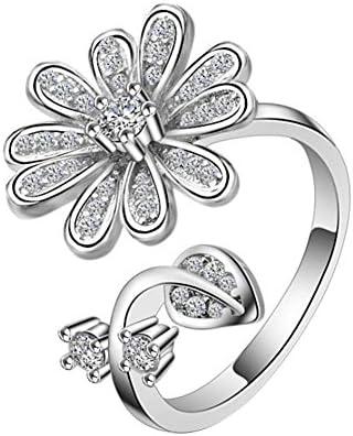 レディース ファション 指輪 リング 可愛い クリスタル 花 オープンリング フリー サイズ 調整可能 プレゼント 手飾り 結婚式 誕生日 記念日 バレンタインデー