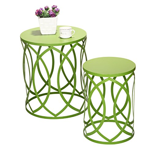 Joveco Metal Round Iron Nesting Strip Structure Stool End Table Side Table With Leaf Pattern