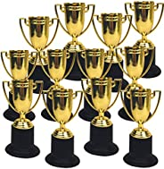 Playko Gold Trophy Cups - Pack of 12 Gold Cups - Plastic Gold Trophy for Awards - Mini Plastic Trophies - Gold