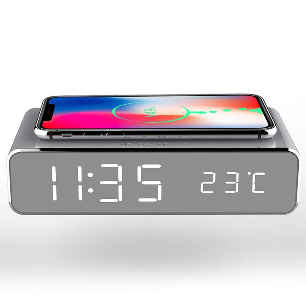 xbwwt Reloj Despertador con Pantalla LED De Espejo, Cargador ...