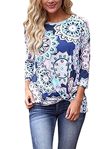 Dokotoo Womens Summer Boho Casual Ladies Floral Print 3 4 Sleeve Cotton Tunic Blouse Tops T Shirts Large Under - Maternity Print Tunic