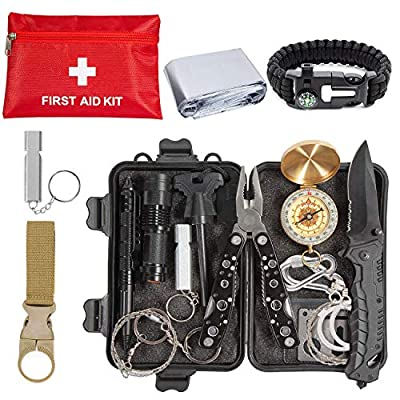 Emergency Survival Kit 24 in 1, Survival Gear Tool Kit SOS Survival Tool Emergency Blanket Tactical Pen Flashlight Pliers Wire Saw for Wilderness Camping Hiking First Aid Survival Kit for Earthquake by CHAREADA
