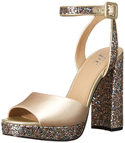 The Fix Women's Gia Colorblock Platform Sandal with Ankle Strap, Prosecco/Gold Multi, 7 B - Gold Multi Heels