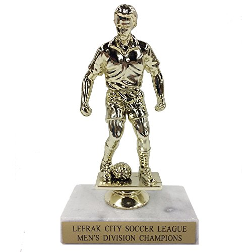 Awards and Gifts R Us Customizable Male Soccer Player Gold Plastic Figure Trophy on White Marble Base, includes Personalization (Trophy Gold Figure)