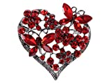 Alilang Womens Floral Silvery Tone Crystal Rhinestone Insect Butterfly Love Flower Heart Brooch Pin