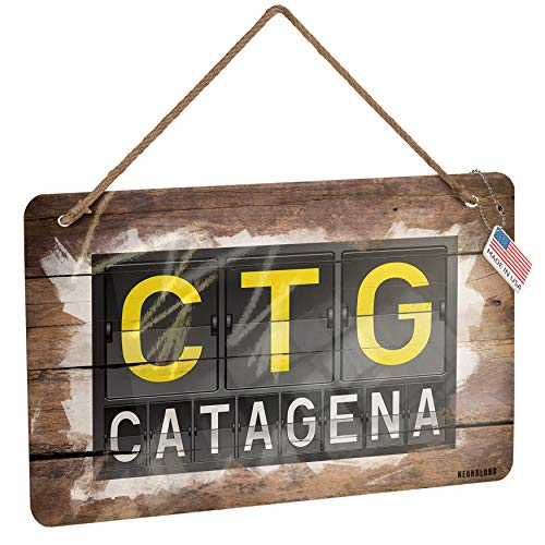NEONBLOND Metal Sign CTG Airport Code for Catagena Christmas Wood Print