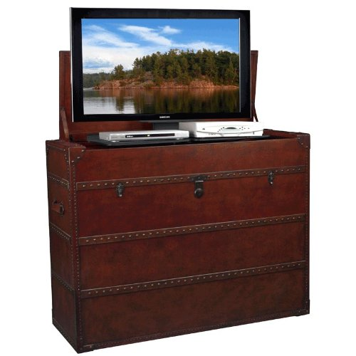 Leather Steamer Truck Style TV Lift Cabinet for 32 - 47'' TVs (AT006197) by TV Lift Cabinet