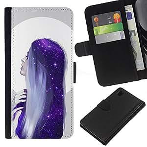 For Sony Xperia Z1 L39 Case , Moon Woman Blue Hair Stars - la tarjeta de Crédito Slots PU Funda de cuero Monedero caso cubierta de piel