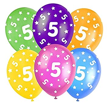 5th Birthday Assorted Multi Coloured 12quot Latex Balloons