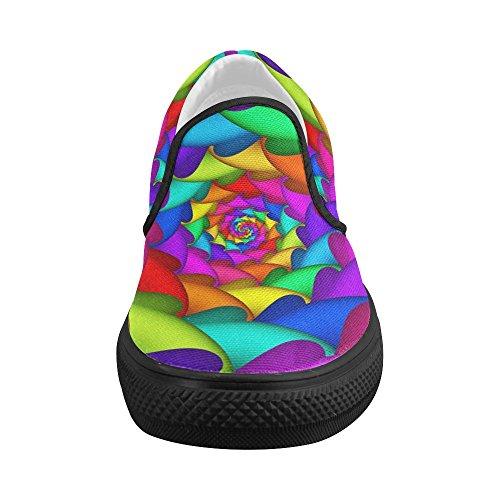Artsadd Psychedelische Regenboog Op Maat Gemaakte Slip-on Canvasschoenen Voor Dames Model019 Multi Color4