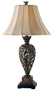 Kenroy Home 20180GR Iron Lace Traditional Table Lamp 33 Inch Height, 18 Inch Diameter Golden Ruby Finish