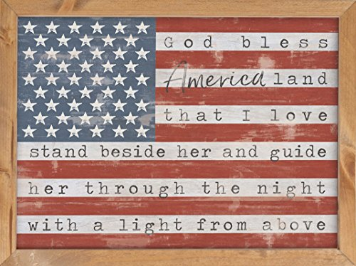 (P. GRAHAM DUNN God Bless America Land That I Love American Flag 16 x 12 Inch Pine Wood Framed Wall Art Plaque)