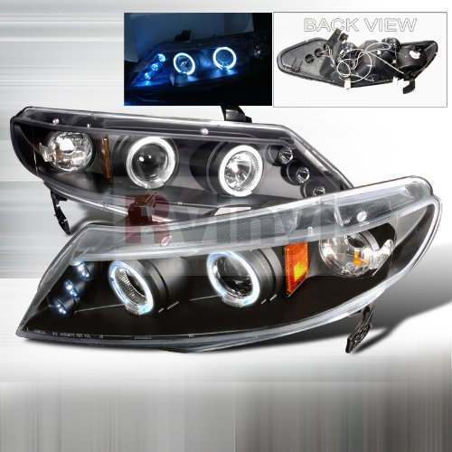 Spec-D Tuning Honda Civic Sedan 2006 2007 2008 2009 2010 2011 LED Halo Projector Headlights - Black - Civic Honda 2011 Sedan Headlights