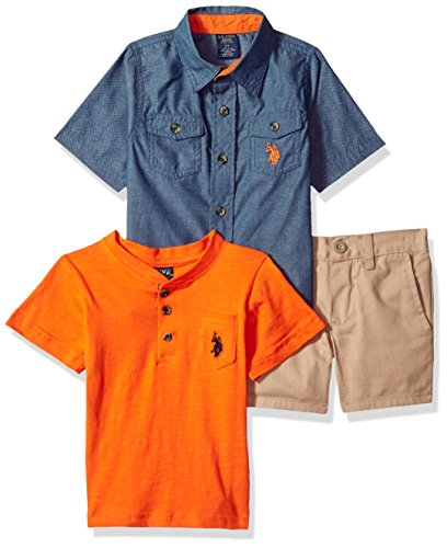 - U.S. Polo Assn. Boys' Toddler Sleeve, T-Shirt and Short Set, Blues with Orange/Multi Plaid, 4T