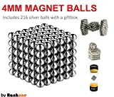Rankone - Magnetic Balls, Blocks | Stress Relief Desk Toys | Fun and Creative set | Sculpture Desk Toy | Silver set of 216 pieces (4mm)
