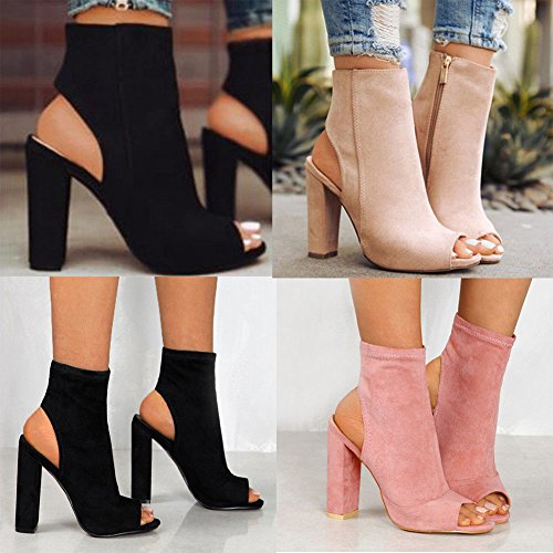 Boots Casual Chunky Boots Sandals Women Ankle Kootk Beige Peep 10 Toe Summer High Zipper Pumps Shoes Sandals Shoes Cut cm Block Out Slingback Heels Party UdHnHg0R