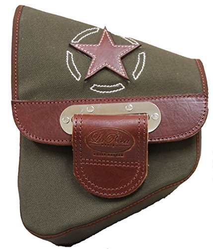 La Rosa Design All HD Softail Canvas Softail Bags - Army Green with Brown Leather - Metallic Brown Leather