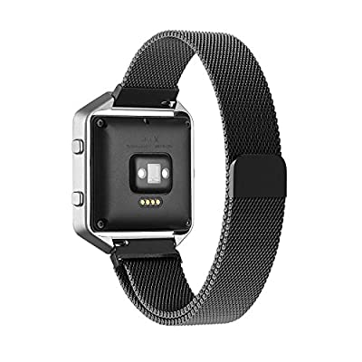 Fitbit Blaze Accessory Band Large,Oitom® Milanese loop stailess steel Bracelet Strap for Fitbit Blaze Smart Fitness Watch, Black, Silver, Large with unique Magnet lock