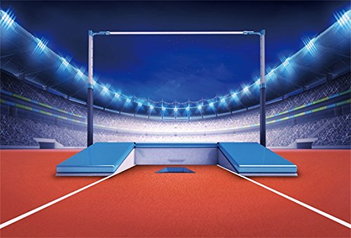 CSFOTO 6x4ft Background for Athletics Stadium with Pole Jump Post Photography Backdrop Flash High Racked Equipment Playground Spectator Fan Spotlight Match Photo Studio Props Polyester - Curtain Pole Match