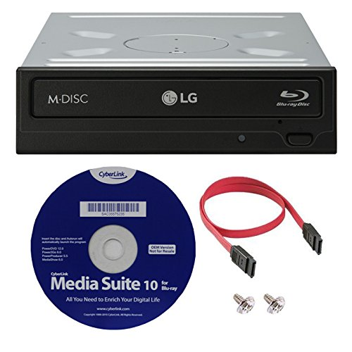 LG WH16NS40K 16X Blu-ray BDXL M-DISC DVD CD Internal Writer Drive Bundle with Free Cyberlink Media Suite 10 + SATA Cable by LG