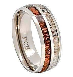 Deer Antler and Koa Wood Ring Titanium Mens Wedding Band Comfort Fit (7)
