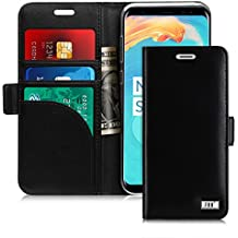 FYY Galaxy S8 Genuine Leather Case, Samsung Galaxy S8 Genuine Leather Case Handmade [RFID Blocking wallet] Wallet Case Credit Card Protector for Samsung Galaxy S8 Black
