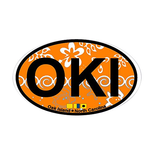 Island Southport (CafePress Oak Island NC - Oval Design Sticker (Oval) Oval Bumper Sticker, Euro Oval Car Decal)