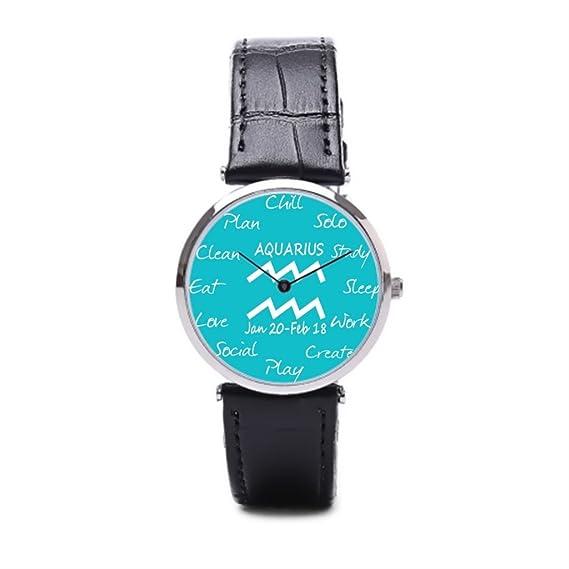 puppya reloj bandas de piel Inspire mejor relojes Zodiac negro/plata