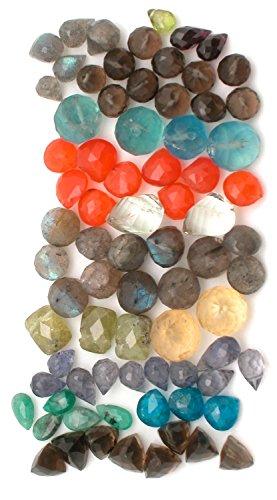 Gemstone LOT of 68 Faceted Loose Briolette Beads; Iolite, Garnet, Apatite, Amethyst, Emerald, Citrine, Labradorite, Carnelian, Smokey Quartz, Flourite for Jewely Making