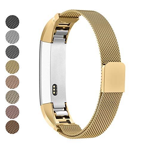 Greeninsync Compatible with Fit Bit Alta Band Gold Milanese,Replacement for Fit bit Alta HR Accessory Bands for Women Men Girls Boy Small Large, Loop and Magnet Lock Design Alta Metal Wristband Strap