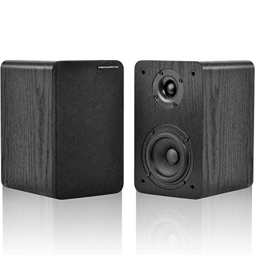Mediabridge Bookshelf Speakers Pair with 4-Inch Carbon Fiber Woofer & 1-Inch Silk Dome Tweeter – Black Enclosure (Part# MS-BP1B)