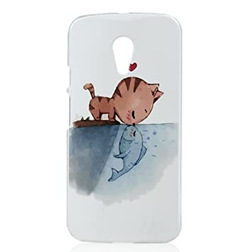 YOKIRIN Carcasa - Motorola Moto G2 (4G) Case duro Plástico protector Funda PC Transparente borde Caso Pez gato beso